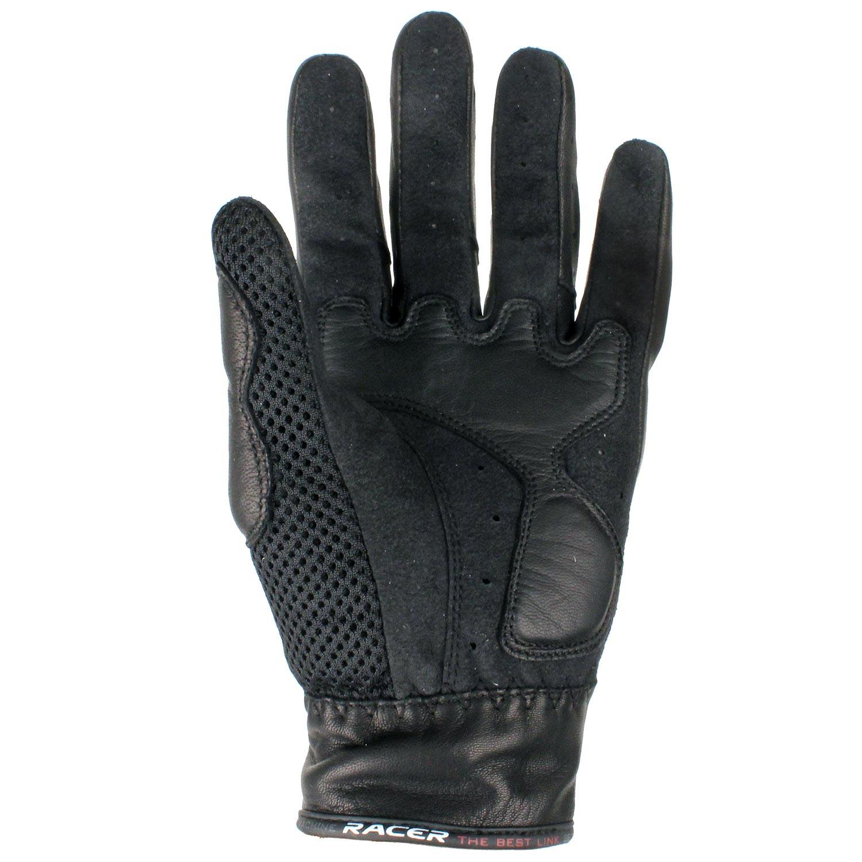 gants cuir racer hidden mesh noir japauto accessoires equipement pilote pour moto et scooter. Black Bedroom Furniture Sets. Home Design Ideas