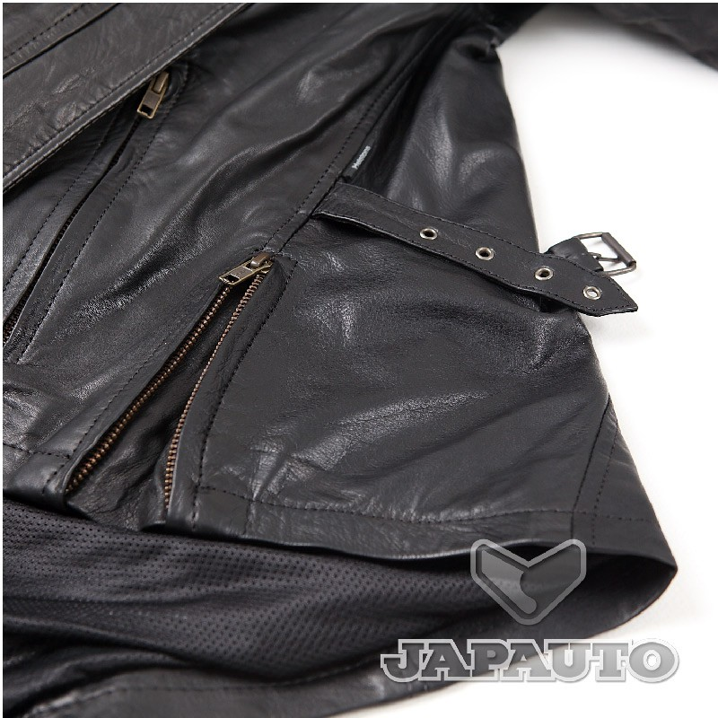 blouson cuir helstons liane noir femme japauto accessoires equipement pilote pour moto et. Black Bedroom Furniture Sets. Home Design Ideas