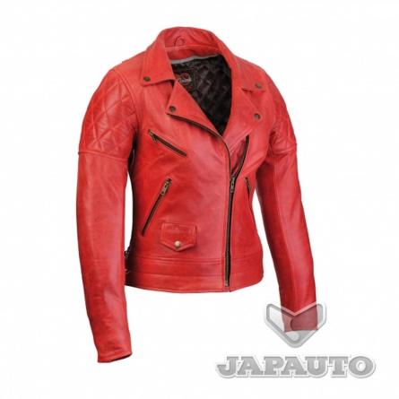 blouson cuir soubirac jessie rouge femme japauto accessoires equipement pilote pour moto et. Black Bedroom Furniture Sets. Home Design Ideas
