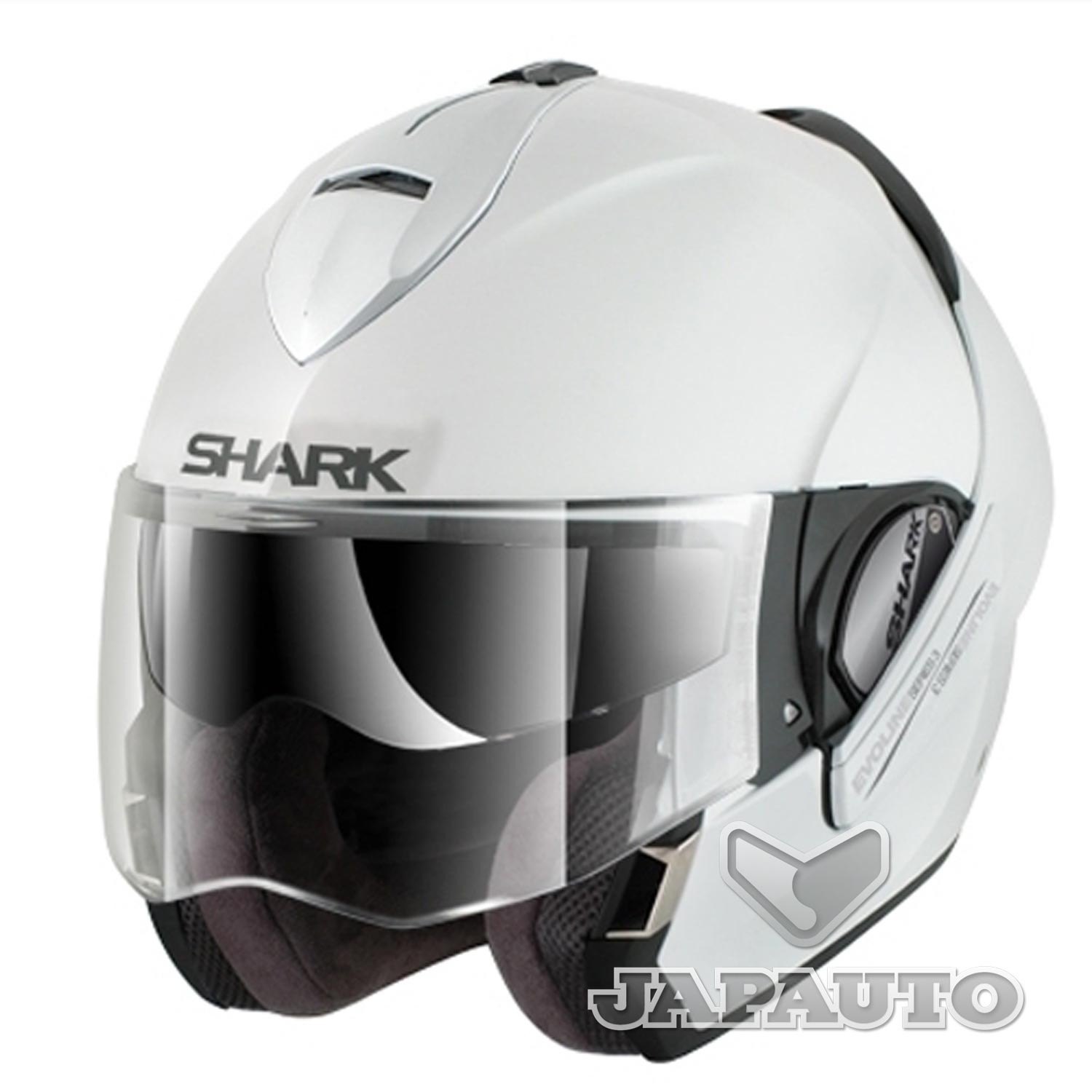 casque modulable shark evoline 3 blanc japauto accessoires equipement pilote pour moto et. Black Bedroom Furniture Sets. Home Design Ideas