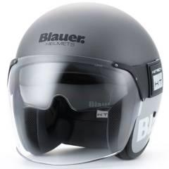 Casque Jet Blauer POD Blanc/Gris Mat de face