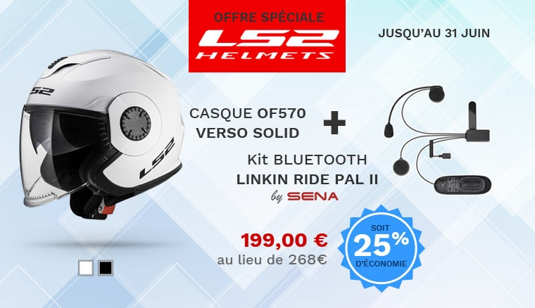 Ensemble casque LS2 oF570Verso Solid + kit Bluetooth LS2 Linkin Ride Pal II by Sena