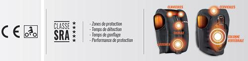 L'airbag IX-Airbag U03 de Ixon est homologué CE et permet de protéger le cou et le haut du corps des pilotes