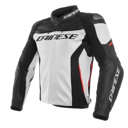 Blouson Cuir Dainese Racing 3 Blanc/Noir/Rouge