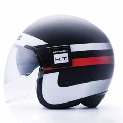 Casque Jet Blauer POD Stripes Noir/Blanc/Rouge Mat - Couleurs multiples