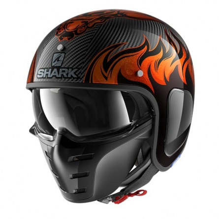 Casque Shark S-DRAK DAGON Orange/Carbon
