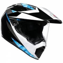 Casque AGV AX9 Noir/Blanc/Bleu quart de face