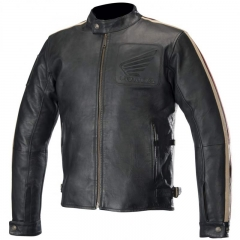 Blouson en cuir Charlie Honda Alpinestars Noir/ Beige/ Rouge