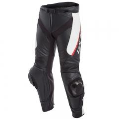 Pantalon Dainese DELTA 3 LEATHER - Noir Blanc Rouge