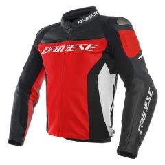 Blouson en cuir Dainese Racing 3 - Rouge/Blanc/Noir