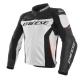 Blouson en cuir Dainese Racing 3 blanc/noir/rouge
