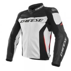Blouson en cuir Dainese Racing 3 - Blanc/Noir/Rouge