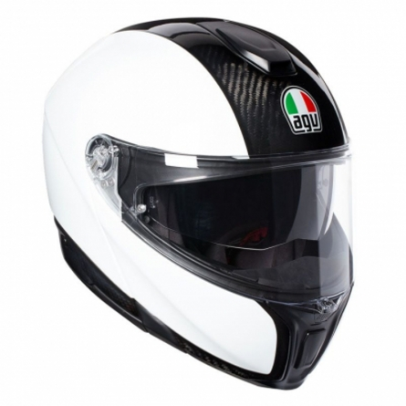 Casque AGV Sportmodular Carbon/Blanc quart de face