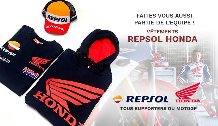 Toute la gamme de vêtements et d'accessoires Repsol Honda pour supporter le Team MotGP !