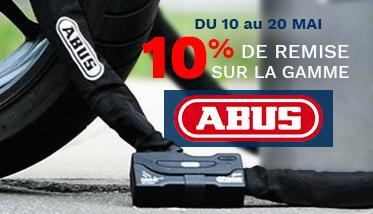 10% de remise sur toute la marque Abus du 10 au 20 mai